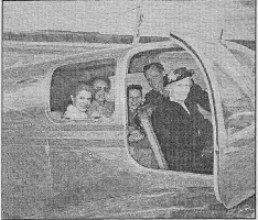 From left to right: daughter Patsy, Lucille, son David L, David G. Peterson, David's mother Nellie at 68 years of age. Taken about 1947 in one of the Beechcraft Bonanzas that David had in his Rent-A-Plane business in Tulsa,