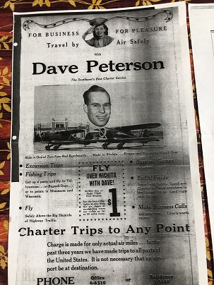 Newspaper advertisement for Dave's Charter business