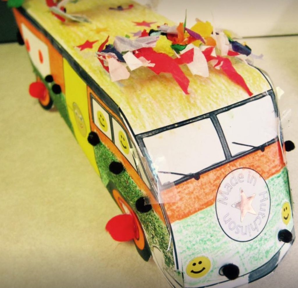 Kid made paper ultra van