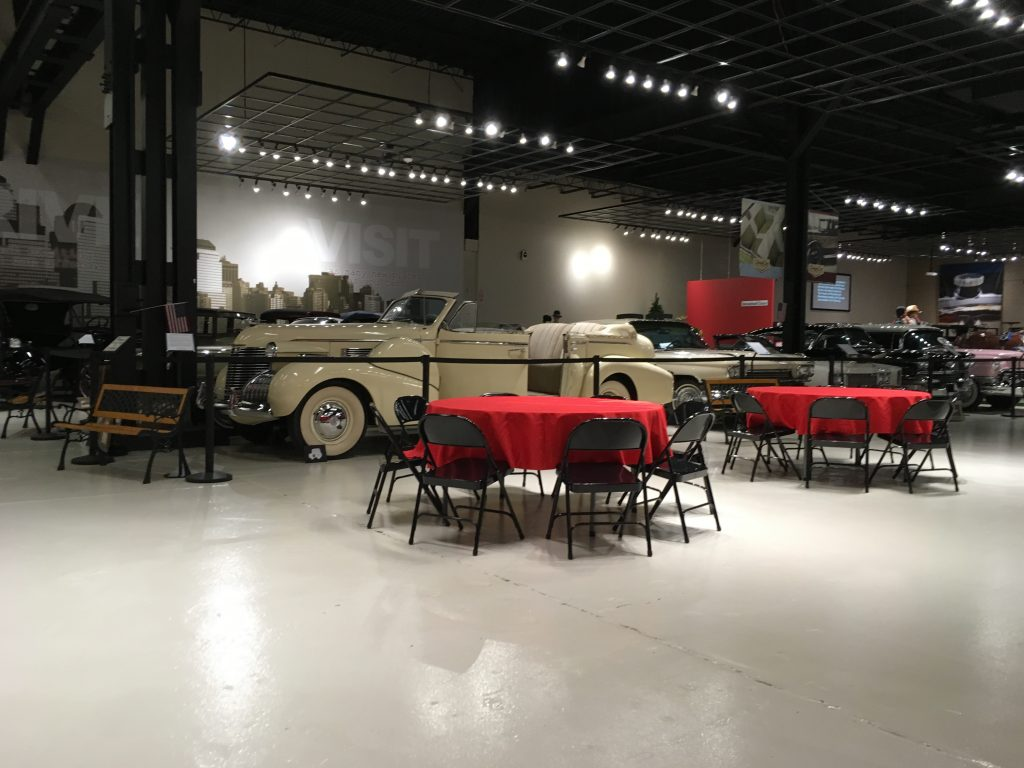 2019 Rally Banquet tables & cars