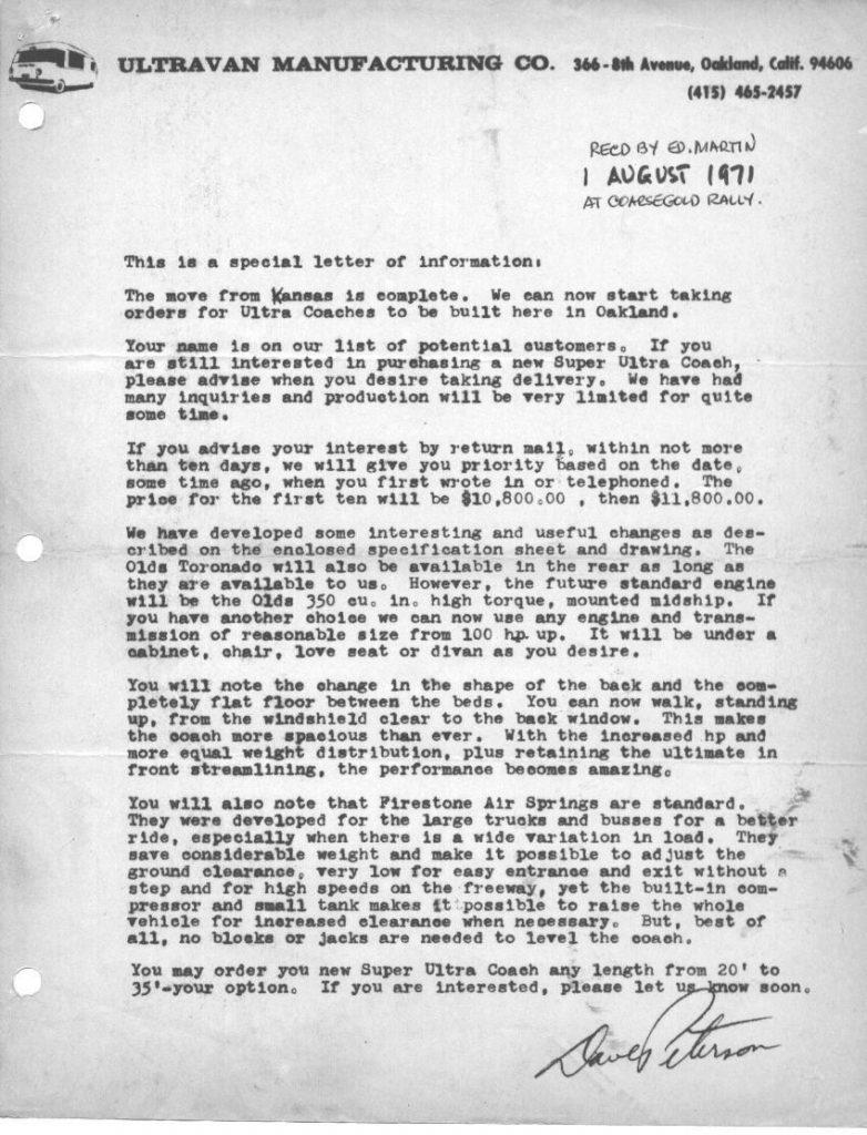 Super Ultra Van Dave Peterson letter