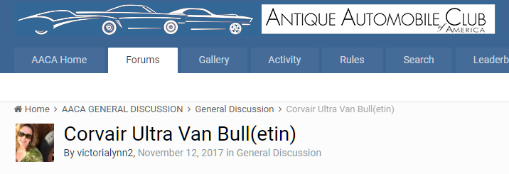 AACA Forum Logo and Corvair Ultra Van Bull(etin) post