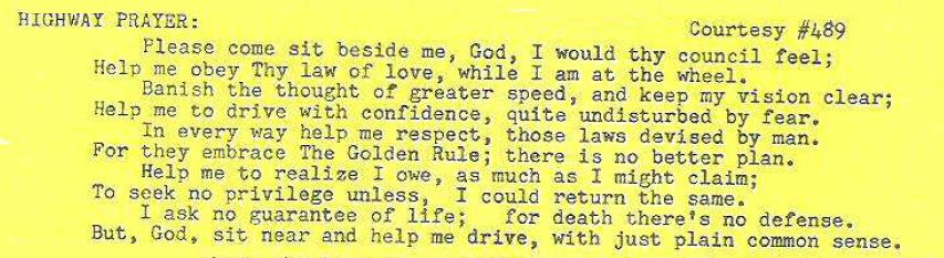 Highway Prayer 1970 #15 Ultra club News