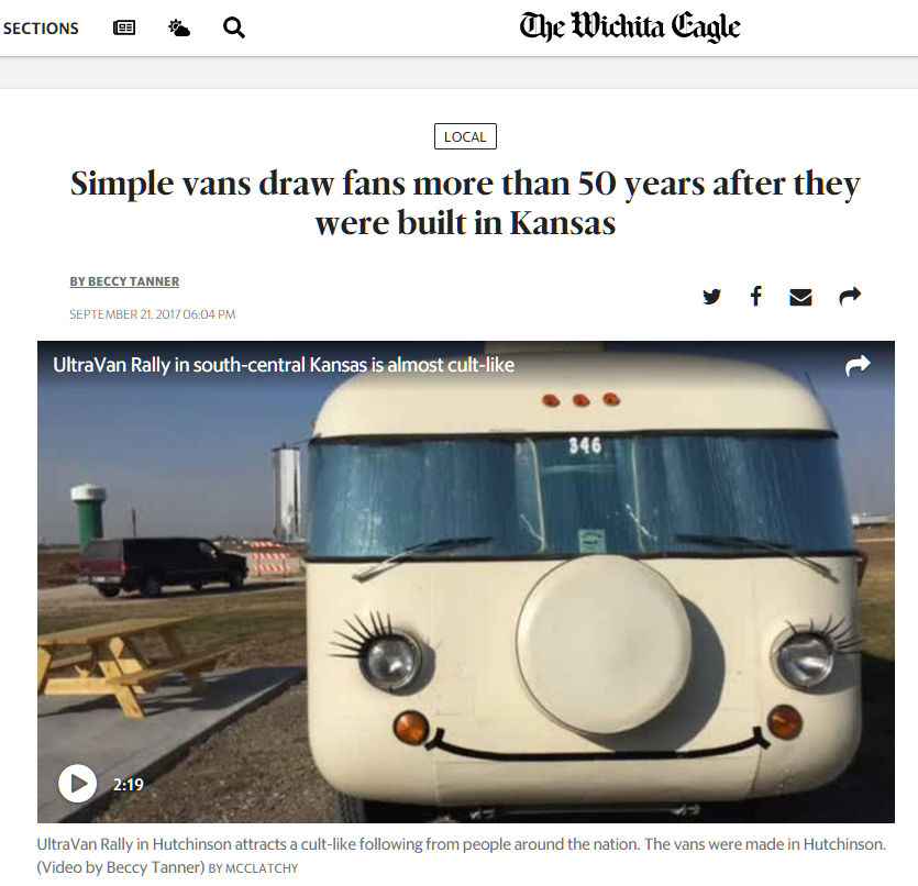 The Wichita Eagle logo and Ultra Van Rally coverage article